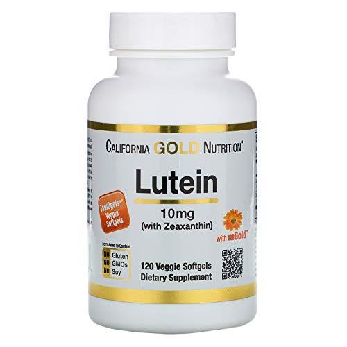 California Gold Nutrition Lutein with Zeaxanthin 10 mg 120 TapiOgels, Egg-Free, Gluten-Free, Fish-Free, Milk-Free, Peanut Free, Soy-Free, Shellfish Free, Treenut Free, Wheat-Free, CGN