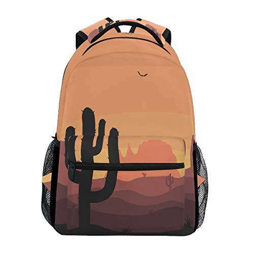 DOSHINE Reise-Rucksack, Tropische Kakteen Wüste Landschaft, Schulranzen Daypack für Herren Damen Jungen Mädchen Kinder