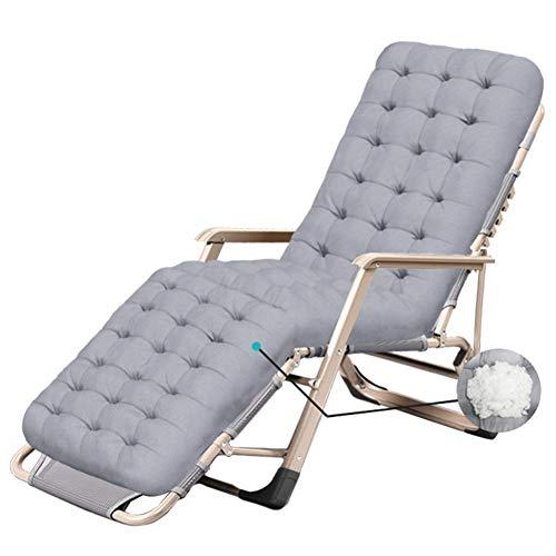 Garden Lounger Chair Übergroßer Zero Gravity Patio Liegestuhl Komfortabler Büro-Strandliege im Freien Unterstützt 200 kg Grau (Farbe: Mit Kissen)