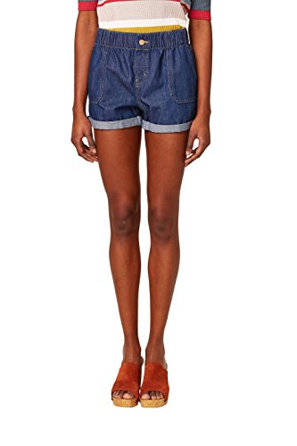 edc by ESPRIT Damen 048CC1C005 Shorts, Blau (Blue Dark Wash 901), W28