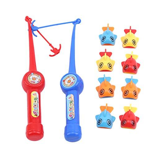 Kaned Juguete de pesca de baño lindo magnético juguete de pesca clásico cañas de pescar poste de actividad juego kits para niños regalo de cumpleaños