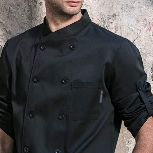 Dexinx Unisex Erwachsene Köche Jacke Mantel Hotel Küche Uniform 3/4 Ärmeln Food Service Koch Arbeitskleidung Chefs Catering Bekleidung Schwarz XL - 5