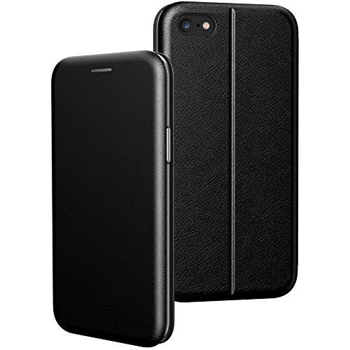 BYONDCASE iPhone 6s Plus Hülle Schwarz, iPhone 6 Plus Handyhülle [Deluxe Leder Flip-Case Klapphülle] Fullbody 360 Grad Rundumschutz Ultra Slim kompatibel mit dem iPhone 6 Plus Case
