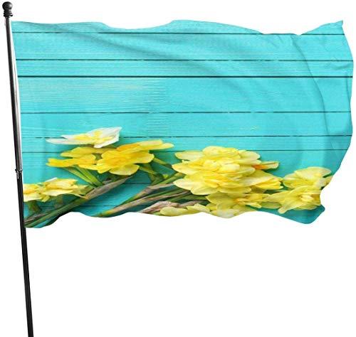 Gele Orchidee Blauwe Muur Tuin Vlaggen Duurzame Fade Resistant Decoratieve Vlaggen Premium Kwaliteit Officiële Vlag met Grommets Polyester Deluxe Outdoor Banner 2020 voor Alle Seizoenen & Vakanties- 3X 5 Ft