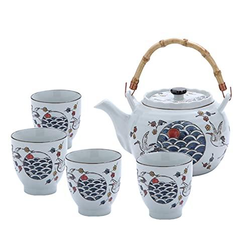 fanquare Juego de Té Japonés de Porcelana Azul y Blanca, Servicio de Té de Grúas y Escamas de Pescado, Tetera de Cerámica con Mango de Ratán y 4 Tazas