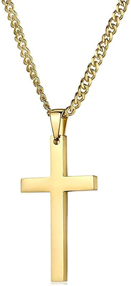 14K Gold Cuban link Chain Cross Flat Pendant Necklace Solid Clasp for Men, Teen Boys. PLated Thin for Charms Miami Cuban Link Diamond Cut Fashion jewelry