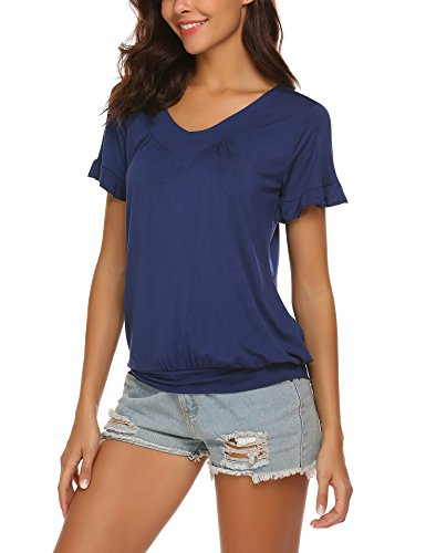 DonKap Womens Short Sleeve Loose Fitting T Shirts Cotton Casual Tops Navy Blue XL