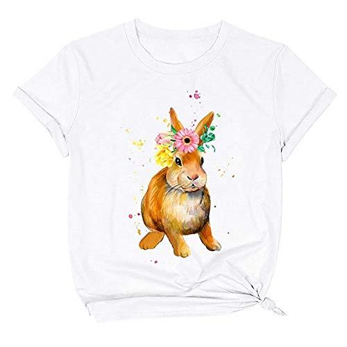 Camisetas de Mujer de Moda Camisetas para Mujer de Verano Camiseta Holgada con Cuello Redondo Y Manga Corta con Estampado de Conejito de Pascua Camisetas Negras de Mujer