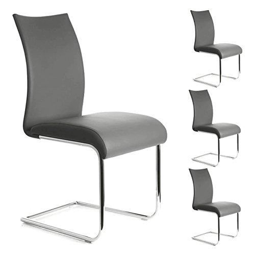 IDIMEX Esszimmerstuhl Schwingstuhl ALADINO, Set mit 4 Stühlen Chrom/grau