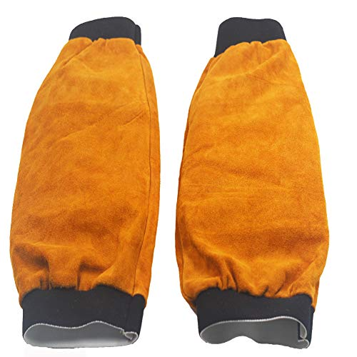 "Jewboer Leather Welding Sleeves Heat Flame Resistant Arm Protection for Welder 16.5"" Long"