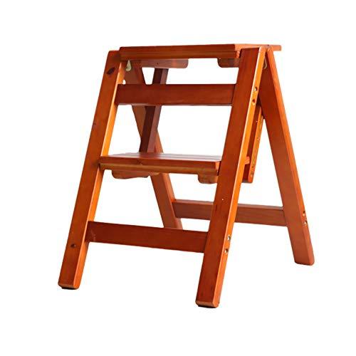 LRZLZY Schritt Hocker, 2-Stufenleiter - Faltbare Pine Holz Fußbank Blumenständer Schuh Bench, Größe 38x46x50cm Stabilität und Sicherheit (Color : Brown)
