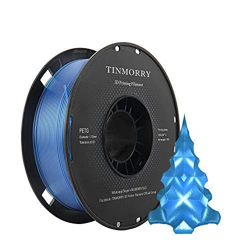 PETG Filament 1.75mm 1kg, TINMORRY 3D Printer Filament PETG Tangle-Free 3D Printing Materials, 1 Spool, Transparent Blue