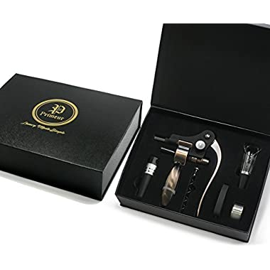 Best Corkscrew Wine Opener- Primeur Seven Piece Luxury Wine Gift Set - Extra Worm/Spiral Wine Aerator, Stopper, Foil Cutter and Drip Ring-Black and Gold Embossed Magnetic Box