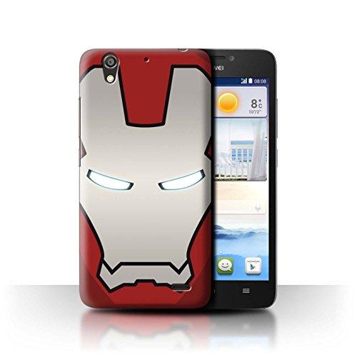 Hülle Für Huawei Ascend G630 Superheld-Helm Rot/Silber Roboter Design Transparent Ultra Dünn Klar Hart Schutz Handyhülle Hülle