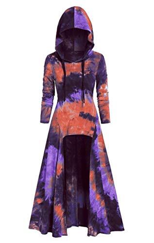 generisch JIER Damen Langarm Mittelalter Kleid mit Kapuze Bodenlangen Cosplay Dress Age Mittelalter Kleidung Große Größen Renaissance Lang Halloween Kostüm Vintage Mantel Kostüme (Lila,X-Large)