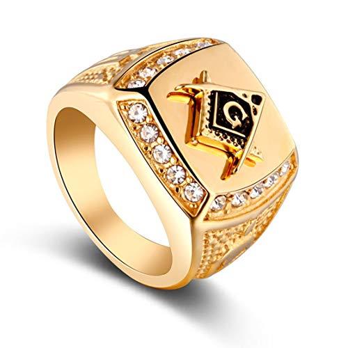 Kaemma Personalisierte Siegelring Kristall Bling Strass goldene Legierung Ring Mode Fingerring für Männer Hip Hop Schmuck(Color:Gold Color & Size:10)