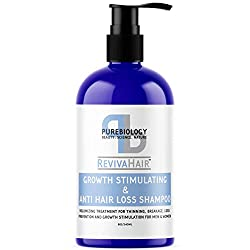 Pure Biology Hair Growth Stimulating Shampoo with Biotin, Keratin, Natural DHT Blockers, Vitamins B + E & Breakthrough Anti Hair Loss Complex for Thinning, Damaged Hair for Men & Women