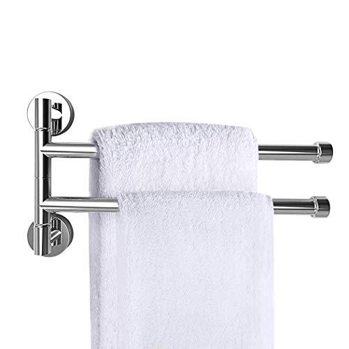 PHOEWON - Portasciugamani girevole in acciaio INOX cromato, con 2 barre girevoli, porta asciugamani da parete, per cucina, bagno, WC