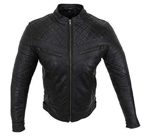 EURO STARS Motorrad & Freizeit Lamm Leder Jacke Schwarz, Biker Leather Jacket black (XL, Schwarz)