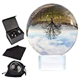 Bola de cristal 100mm - Bola fotografía con soporte cristal, caja regalo, bolsa y paño microfibra - Esfera lente transparente para meditación - Adornos cristal K9 para el hogar, fiesta y espectáculos