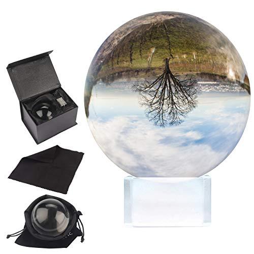 BELLE VOUS Bola de Cristal K9 80mm - Bola Cristal Fotografia 8cm Base de Cristal, Bolso Terciopelo, Paño Microfibra y Caja de Regalo - Esfera Lente Transparente Decoración Oficina, Meditar, Curación