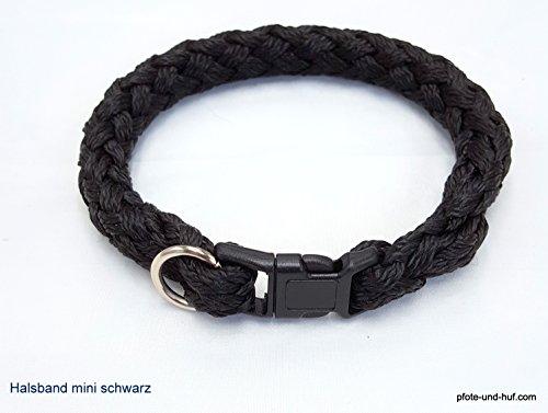 elropet Hundehalsband Mini für die Kleinen rundgeflochten Tauwerk schwarz (34cm)