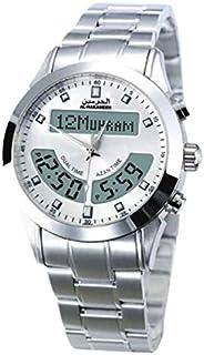 ساعة يد رجالي من الحرمين ، انالوج و ديجيتال ، ستانلس ستيل ، فضي ، HA-6102SW