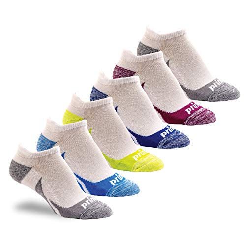 Prince Women's Low Cut Tab Athletic Socks with Cushion for Running, Tennis, and Casual Use (6 Pair Pack) (Women's Shoe Size 6-10 (US), White Assortment)