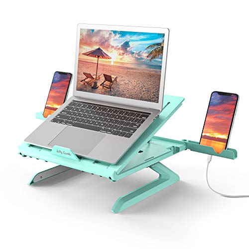 Laptop Stand with Built-in Foldable Legs and Phone Holder, Jelly Comb 9-Adjustable Height Laptop Riser, Air-Ventilated Laptop Holder for Notebook, Laptop, Tablet