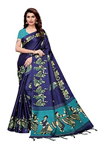 TreegoArt Fashion Sari estampado de seda Kalamkari para mujer con pieza de blusa -(Kathak Navy)