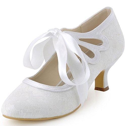 ElegantPark HC1521 Zapatos para Novia Tacon Bajo Mary Jane Zapatos Mujer Cintas...