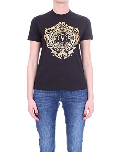 Versace T-Shirt Jeans Couture con Stampa Logo sul Davanti B2HWA7FA30454 (Nero, M)