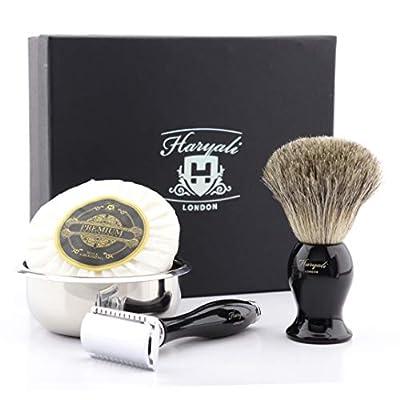 Haryali London Shaving Kit – 4 Pc Shaving Kit – Double Edge Safety Razor - Super Badger Shaving Brush – Shaving Soap – Shaving Bowl – Shaving Set as Gift – Black Color Safety Razor Set