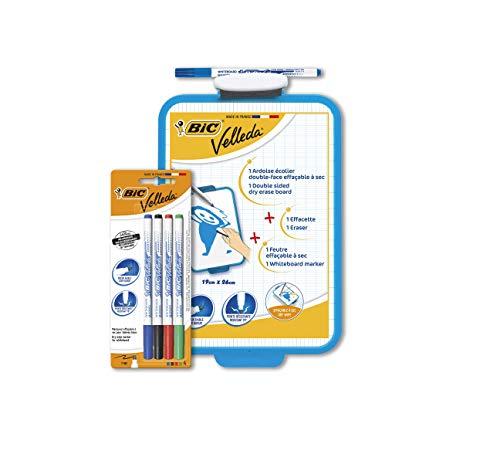 BIC Velleda Pack - 1 Pizarra Blanca con Rotulador Azul BIC Velleda y 4 Marcadores Para Pizarra BIC Velleda 1721 (Azul, Negro, Rojo y Verde)