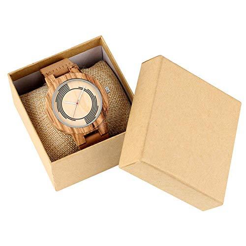 LYMUP Reloj de madera con diseño de geometría espiral, reloj masculino, esfera concisa, relojes de madera para mujer con correa de cuero y vapor; color: reloj con caja)