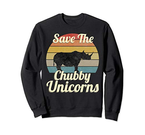 Save The Chubby Unicorns Funny Rhino Vintage Gift Men Women Sweatshirt