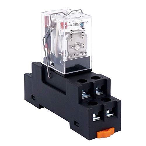 Taiss/AC 24V Spule Elektromagnetisches Leistungsrelais 10A 2DPT 8 Pins 2NO+2NC LY2NJ mit Sockelsockel YJTF08A-E(Qualitätssicherung für 2 Jahre) YJ2N-LY