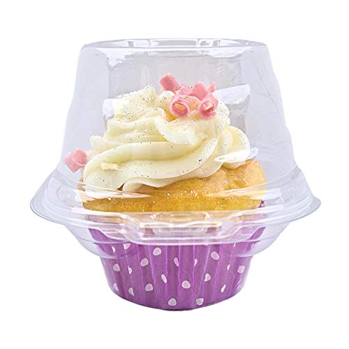 100 Pack Individual Cupcake Containers by ZoyShop - Stackable Clear Plastic Box With Deep Dome - Single Compartment Carrier Muffin Holder - Disposable Hinged Transparent Clamshell Cup BPA-Free