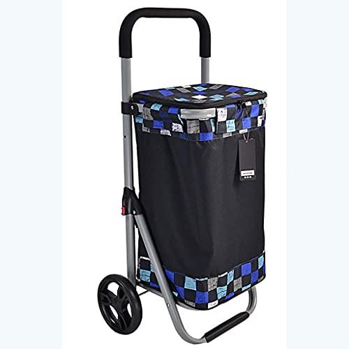 WYZXR Faltbarer Einkaufswagen, 2-Rad-Treppen-Kletterwagen, mit Abnehmbarer wasserdichter Segeltuchtasche, für Lebensmittelgeschäfte Leichter Treppen-Kletterwagen (Color : C)
