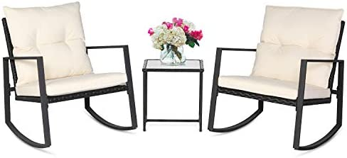 Best SUNCROWN Outdoor 3-Piece Rocking Bistro Set: Black Wicker Furniture-Two Chairs with Glass Coffee Tab
