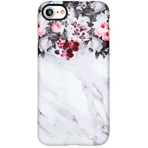 VIVIBIN iPhone SE Case 2020, iPhone 7 Case,iPhone 8 Case for Women,Cute Grey Marble Flowers for Girls Soft TPU Cover Slim Fit Protective Phone Case for iPhone 7/iPhone 8/iPhone SE