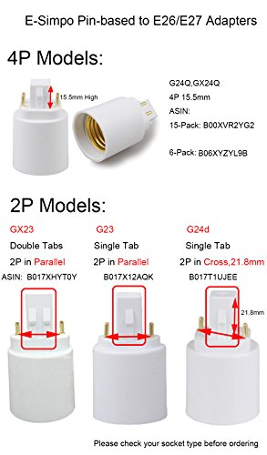 Rohs,Need Bypass Ballast 15-pack 4P Gx24q to E26 Lamp Base Converter,15.5mm G24Q to E26//e27 Gx24q to E26 Adapter,Lamp Holder Converter E-Simpo GX24Q to E26 Light Socket Adapter