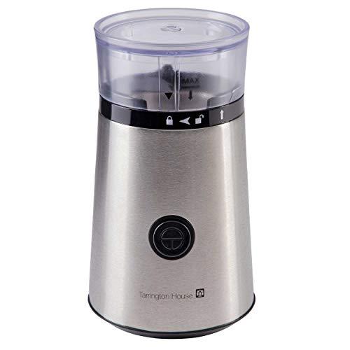 Tarrington House KM180S Kaffeemühle | Edelstahl | 150 Watt | Sicherheitsverschluss | Kabelaufbewahrung | Abnehmbarer Kaffeebohnen-Behälter | Fassungsvermögen 60 g Kaffeebohnen