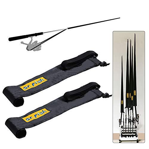 Dr.Fish Fishing Rod Socks Tangle-Free Lightweight Nylon Adjustable Elastic Strap Spinning Baitcaster 2pcs/6pcs Sleeve Cover Protector Fishing Pole Storage Tube Baitcasting