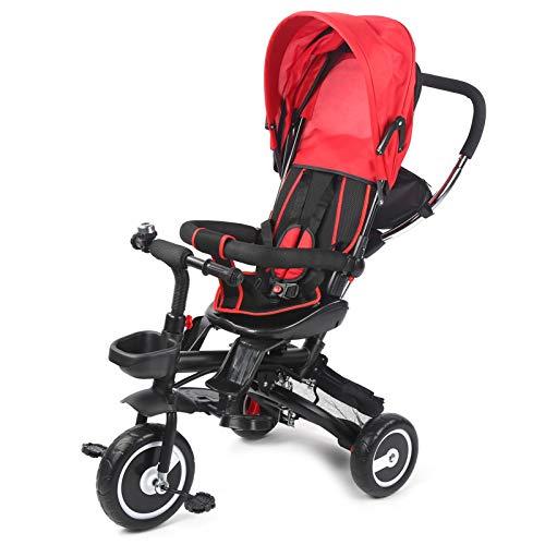 JIUA Portátil Plegable Liviano Cochecito De Bebé Triciclo Bebé Recién Nacido Silla para Viajar Rojo