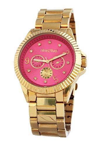 nine2five afcy07glrs de Las Mujeres Banda de Acero Inoxidable Pulsera Oro Rosa Dial Reloj
