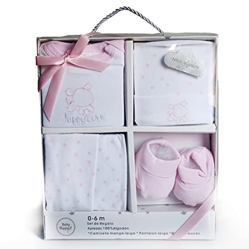 Set de primera puesta bebé 4 piezas - 0 a 6 meses (Rosa) -...