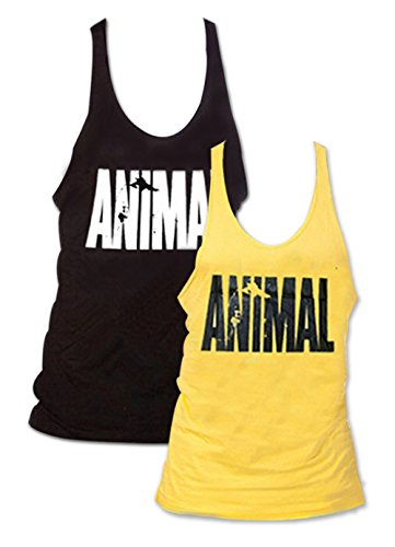 Suedeee Waylongplus Pack de 2 animal de la letra de impresión del músculo Gimnasio Stringer, camisetas sin mangas para el culturismo para Hombre Asia Media Multicolor, Negro + Amarillo