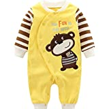 Minizone Baby Rompers Boys Girls Cotton Onsises Long Sleeve Sleepsuit Infant Coveralls, 3-6 Months,...