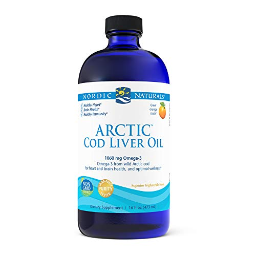 Nordic Naturals Arctic Cod Liver Oil, Orange - 16 oz - 1060 mg Total Omega-3s with EPA & DHA - Heart & Brain Health, Healthy Immunity, Overall Wellness - Non-GMO - 96 Servings